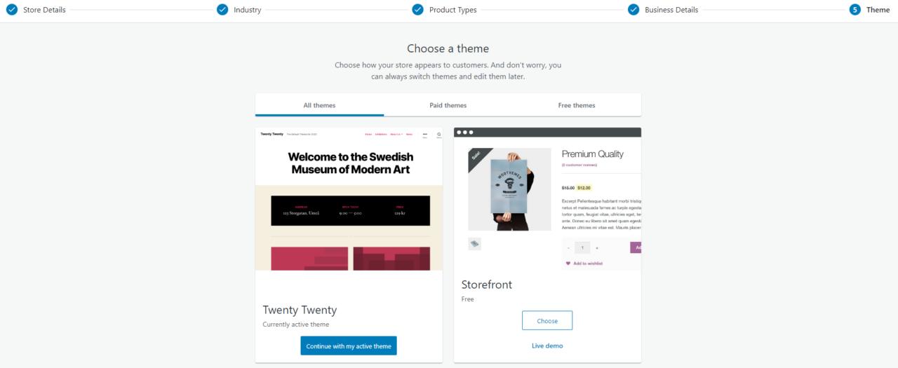 scegliamo il tema del nostro negozio online