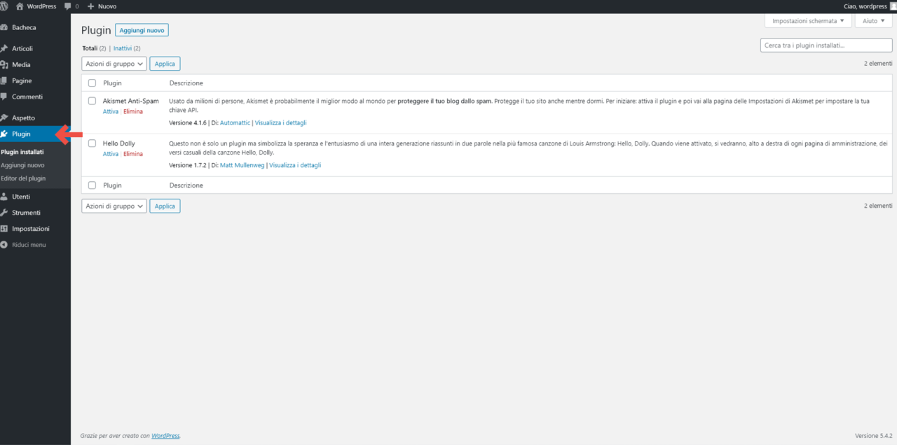 Utilizziamo i plugin di WordPress